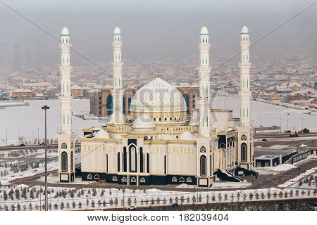 A view from above of a new mosque in the capital of Kazakhstan. The mosque of Hazrat Sultan in Astana.
