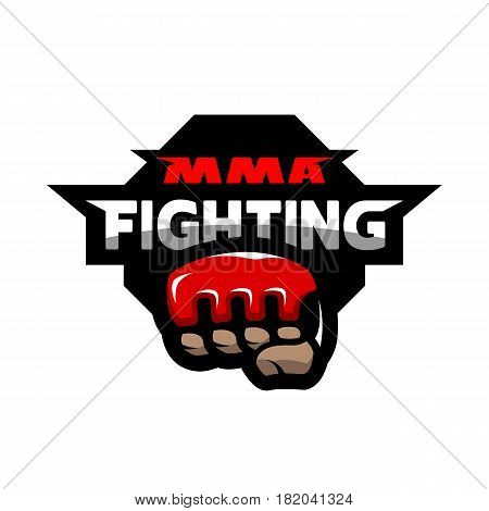 MMA fighting. Mixed martial arts logo. Vector illustration.