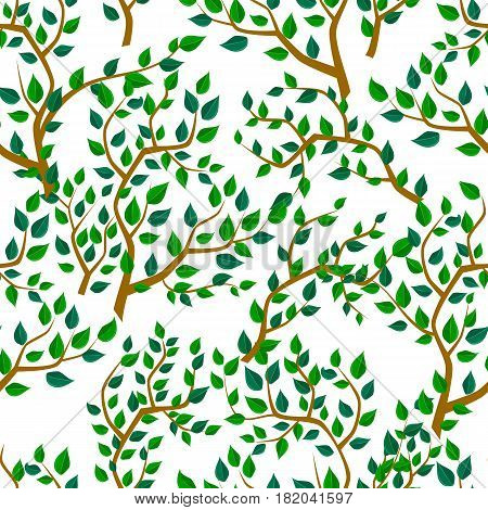 Seamless background with tree leafs. Vector pattern