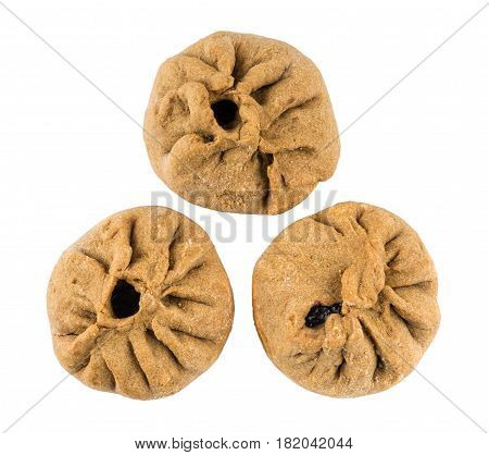 Three Pies Stuffed From Unleavened Dough Isolated On White