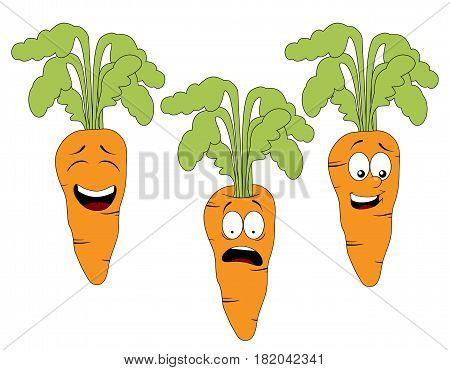 Set of cartoon carrot character with different expressions isolated on white background