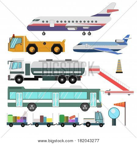 Airport planes and passenger service vehicles. Vector isolated flat icons of aircraft, airstair and shuttle bus, fuel tank truck, tow and luggage tractor with signal lights and wind vane