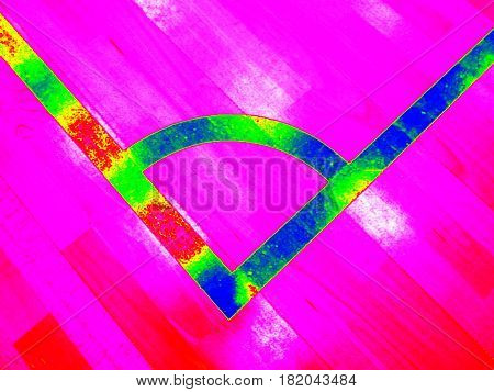 Animal View. Infrared Scan Of Empty Playground, Wooden Floor With Bounds Lines.