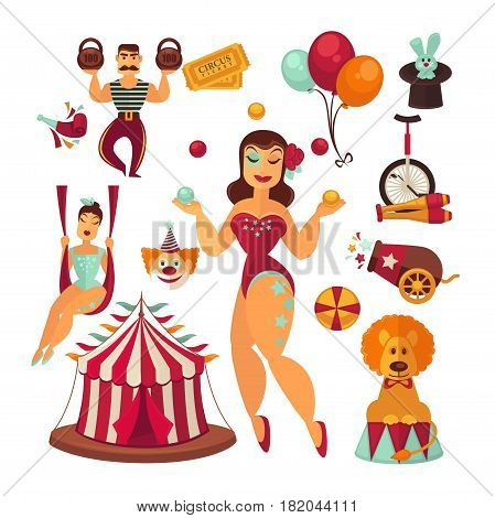 Circus show performance elements. Entertainment marquee tent with clowns, magician and rabbit in hat, equilibrist on swings, lion, joggling pins, balloons and bicycle. Vector flat isolated retro icons