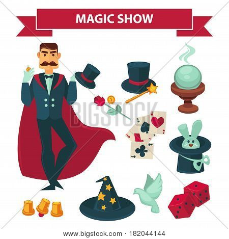 Magic show accessories and elements. Circus illusionist or magician man in conjurer mantle with bunny rabbit in hat, crystal ball, witch hat, cards and coins for focus trick. Vector flat icons set