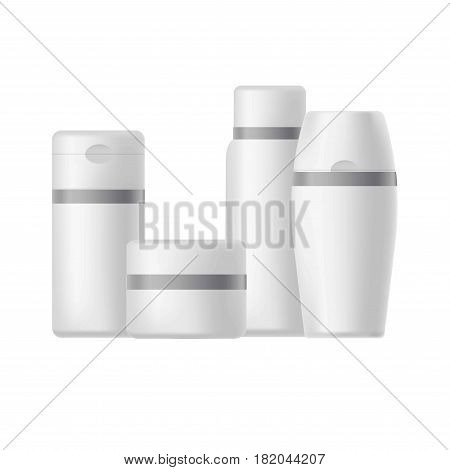 Cosmetic packages blank templates or mockups. Vector 3D set of plastic tubes, cream jars and soap dispenser and bottles for liquids with caps. Household chemicals containers on white background