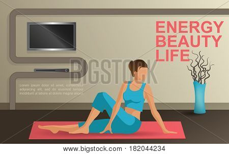 Vector young woman practicing yoga at home