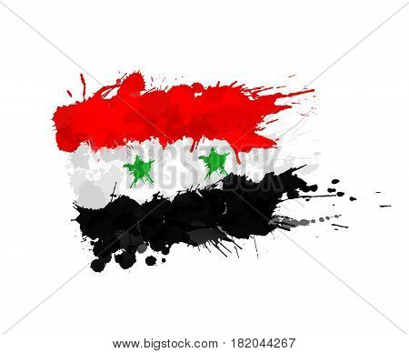 Vector Syrian flag made of colorful splashes
