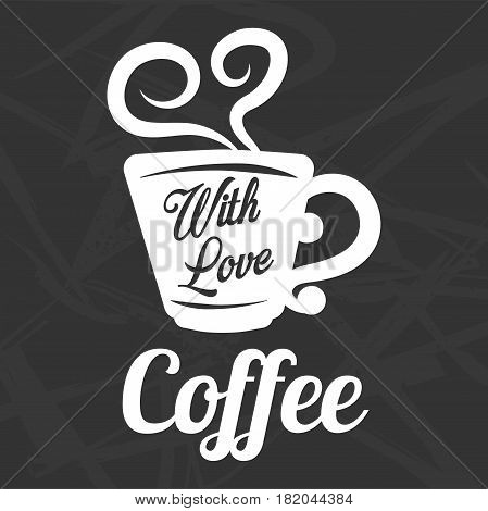 Coffee logo template of hot drink mug or cup with steam in heart shape. Vector isolated icon for cafe, coffeehouse or coffeeshop and cafeteria