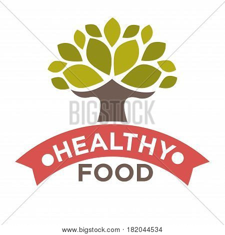 Healthy food product logo template. Vector isolated label or ribbon icon with tree and green leaf for natural bio farm food package design element