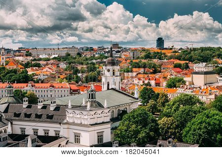 Vilnius, Lithuania - July 5, 2016: Vilnius Historic Center Cityscape At Sunny Summer Day. Beautiful View Of Old Town Under Dramatic Sky. Vilnius Old Town Is Part Of UNESCO World Heritage
