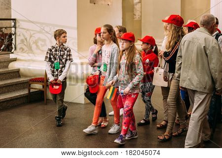 Vilnius, Lithuania - July 6, 2016: Children Visiting Of Cathedral Basilica of Saints Stanislaus and Vladislaus during celebration of Statehood Day. Holiday in commemorate coronation in 1253 of Mindaugas King.