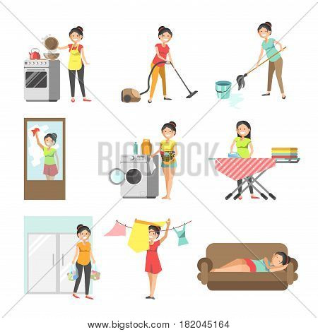 Housewives at home work. Woman or wife washing clothes, cleaning house with vacuum cleaner and duster, ironing linen and cooking food or shopping in grocery. Vector flat isolated icons