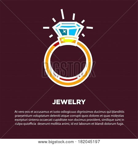 Jewelry poster of golden wedding ring with diamond or gemstone. Vector flat design for of luxury bijou or jeweler shop