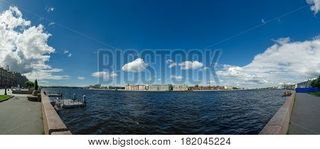 Panorama Neva river. Prison Crosses, Saint Petersburg, Russia