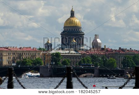 Isaak Cathedral Church, Saint Petersburg, Russia. Summer day.