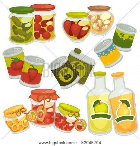 Preserves food and pickles. Pickled tomatoes and cucumbers in glass jar pots, homemade berry jam and fruit juice in bottles, vegetables and olive oil in tine cans. Vector flat icons set for stickers