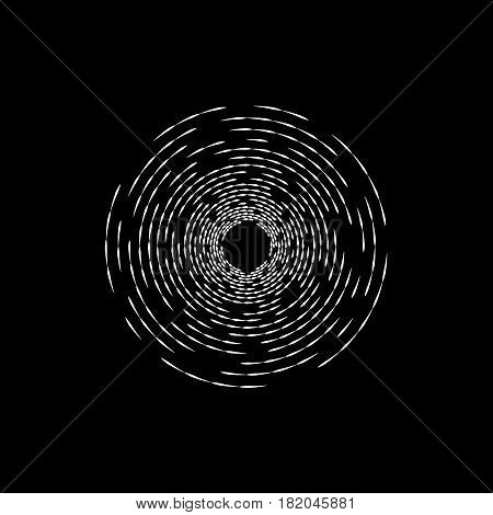 Brocken concentric vortex ripple. Hipster design element. Vector illustration.