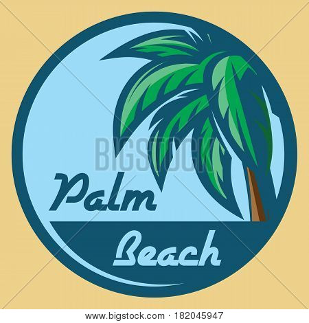 Template for logo on the theme of tourism with a palm tree