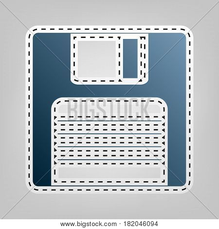 Floppy disk sign. Vector. Blue icon with outline for cutting out at gray background.