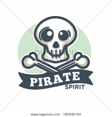 Pirate vector icon or logo. Vector symbol of crossed skeleton bones and skull with ribbon. Jolly Roger piracy flag design element