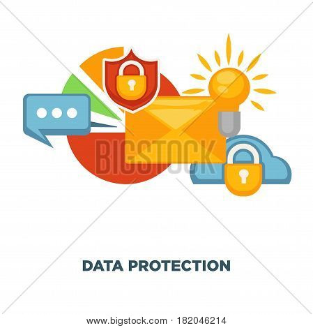Data protection and internet security poster. of digital antivirus program or cloud storage and computer malware. Vector flat icons design