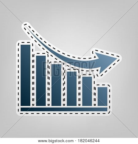 Declining graph sign. Vector. Blue icon with outline for cutting out at gray background.
