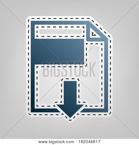 File download sign. Vector. Blue icon with outline for cutting out at gray background.