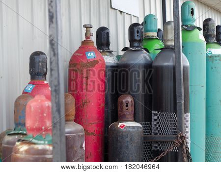 empty tanks propane oxygen nitrogen chemical gas bottles