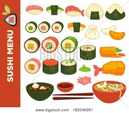 Sushi bar or Japanese restaurant icons for menu. Vector set of rolls or salmon maki and tuna nigiri in nori, shrimp tempura, steamed rice and dumplings, miso soup and udon noodles with chopsticks