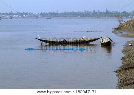Fishing in Sunderbans the largest mangrove forest in the world.