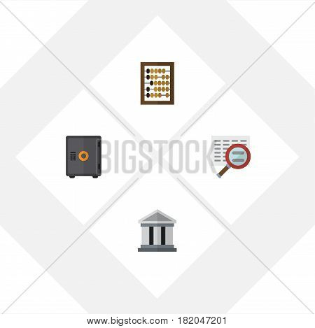 Flat Gain Set Of Scan, Counter, Strongbox And Other Vector Objects. Also Includes Safe, Architecture, Magnifier Elements.