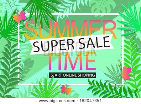 Summer sale geometric background with butterflies and tropical leaves. Vector illustration template and banners, wallpaper, flyers, invitation, posters, brochure, voucher discount.