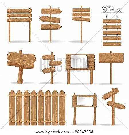 Wooden signs and advertising signages templates. Hanging wood boards with blank space for messages or posters, direction road arrows in retro or cartoon style. Vector isolated mockups set