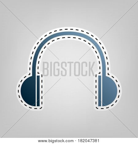 Headphones sign illustration. Vector. Blue icon with outline for cutting out at gray background.