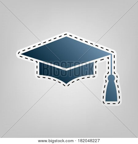 Mortar Board or Graduation Cap, Education symbol. Vector. Blue icon with outline for cutting out at gray background.