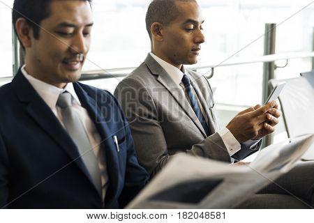 Business Men Break Sit Read Newspaper