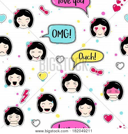 Asian style seamless pattern with anime emoticons girls. Tillable background for fabric, print, textile, wrapping paper or wallpaper, craft, embroidery, scrapbook. Cute girls with speech bubbles
