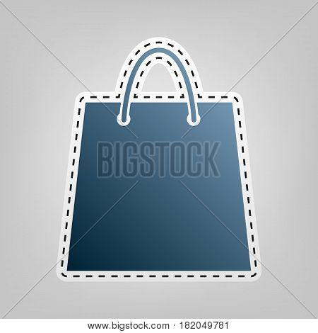 Shopping bag illustration. Vector. Blue icon with outline for cutting out at gray background.