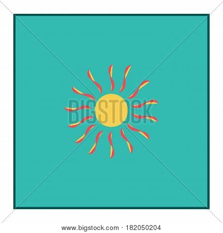 The sun sign in blue square. Orange solar silhouette. Bright sunny icon good mood. Isolated logo spring summer. Symbol hot warm sunlight and good weather. Flat vector image. Vector illustration.