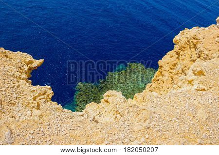 Bay with blue water in Ras Muhammad National Park in Sinai Egypt