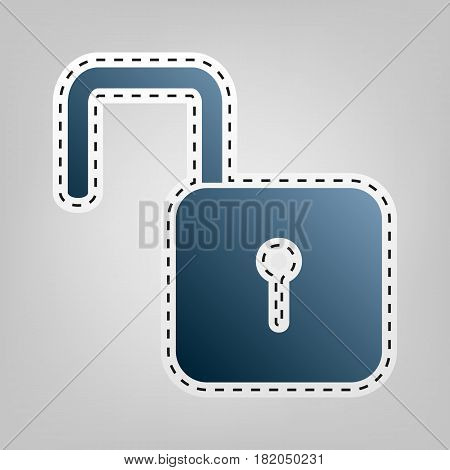 Unlock sign illustration. Vector. Blue icon with outline for cutting out at gray background.