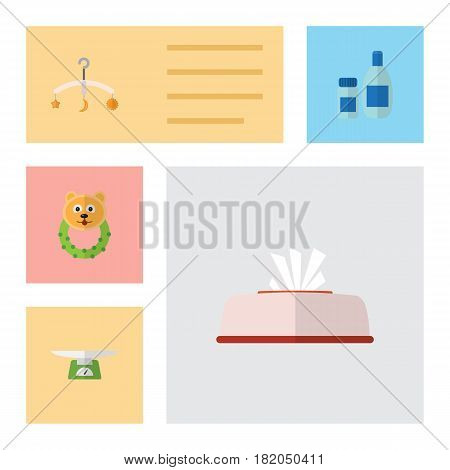 Flat Infant Set Of Tissue, Cream With Lotion, Mobile And Other Vector Objects. Also Includes Children, Weighing, Napkin Elements.