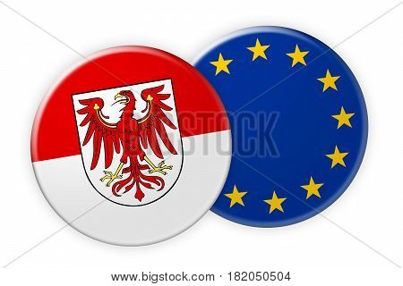 Germany News Concept: Brandenburg Flag Button On EU Flag Button 3d illustration on white background