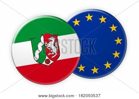 Germany News Concept: North Rhine-Westphalia Flag Button On EU Flag Button 3d illustration on white background