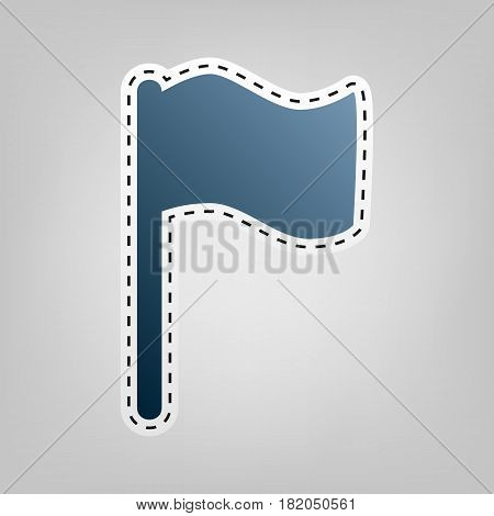Flag sign illustration. Vector. Blue icon with outline for cutting out at gray background.