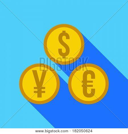 Money Set - Dollar, Euro, Yen Icon.  Flat Vector Illustration.