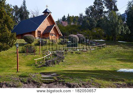 VILLA TRAFUL NEUQUEN ARGENTINA - SEPTEMBER 9 2015: An exterior view of the church of Villa Traful in Neuquen Argentina.