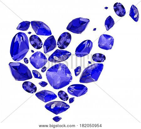 broken heart shape symbol from blue sapphire gems isolated on white background