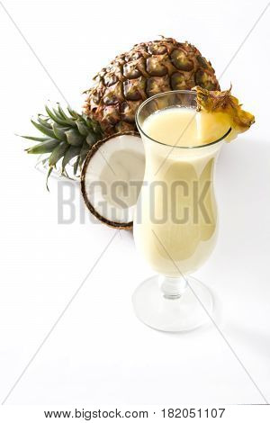 Piña colada cocktail isolated on white background